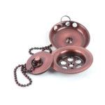 Válvula de desagüe de lavabo universal compatible con la mayoría de lavabos de latón acabado cobre