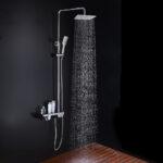 Columna de ducha ARTIC Quad con tubo redondo extensible de 82 a 126 cm. Grifo termostático y repisa integrada de cristal templado