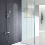 Columna de ducha termostática extralarga CON CAÑO Quad. Con tubo redondo extensible de 100 a 150 cm. con desviador integrado