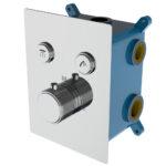 Grifo termostático ducha para empotrar 2 VIAS PULSAR con 2 salidas de agua y fácil limpieza, acabado cromo brillo.