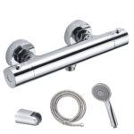 Grifo termostático para ducha PARÍS con equipo y manetas de zinc. Incluye flexo de acero inoxidable, mango de ducha y soporte de ducha