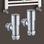 Juego de dos válvulas y detentor para Secatoallas radiador de circuito de agua caliente. acabado cromo brillo