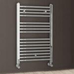 Toallero Secatoallas radiador para integrar en circuito de agua caliente, tubos de acero acabado cromado brillo 800×500